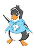 Super caricatura ilustración vectorial de pingüino — Vector de stock