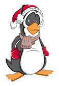 Winter kerst cartoon pinguïn vectorillustratie — Stockvector