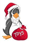 Santa Cartoon Penguin Vector Illustration — Stock Vector