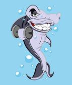 Funny Cartoon Shark Vector Illustration — Stock Vector