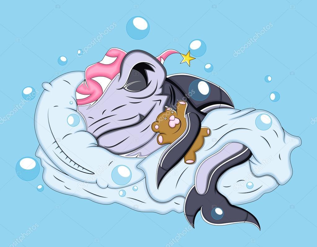 美丽的绘画艺术的可爱的卡通鲨鱼鱼睡觉的矢量图