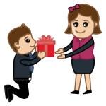 Presenting a Gift Box to Girl Vector — Stock Vector #27699153