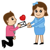 Proposing a Girl with a Love Letter — Stock Vector