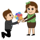 Proposing a Girl with Flower Bunch — Stock Vector