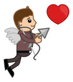Cupid Office Man Cartoon — Stock Vector