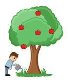 Arrosage d'un arbre l'homme - vector — Vecteur