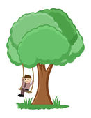Tree Swing Cartoon Vector — Stock Vector
