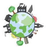 Budynków, drzew i dzieci wokół Ziemi — Wektor stockowy