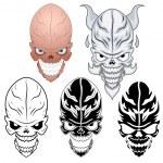 Skull Tattoo Vector Illustration Set — Stock Vector #27811207