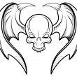 Skull Flying Tattoo Vector — Stock Vector