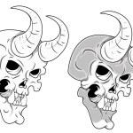 Skull with Horn Vector Illustration — Stock Vector #27811351