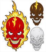 Skull in Flames Vector Illustration — Stock Vector