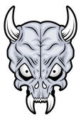 Skull Illustration - Long Horn and Teeth — Stock Vector