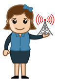 Girl with Internet Signal Tower — Stock Vector