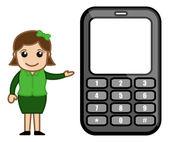 Girl Presenting Phone - Vector Illustration — Stock Vector