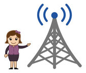 Girl Showing a TV Signal Tower — Stock Vector