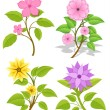 Set of Decorative Flowers — Stock Vector