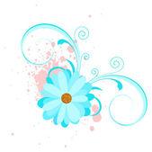 Blue Swirl Flower Vector — Stock Vector