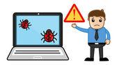 悲しい男のコンピューター壊れている - ウイルス - ベクトル イラスト — ストックベクタ