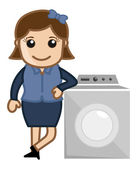 Woman with Washing Machine - Vector Illustration — Stock Vector