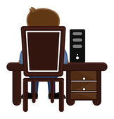 Working on Computer - Office Character - Vector Illustration — Vecteur