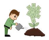 Tree of Money Cartoon Concept - Vector Illustration — Stock Vector