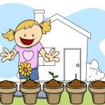 Flower Plant - Gardening - Kids - Vector Illustration — Stock Vector