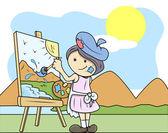 Painting Landscape - Kids - Vector Illustration — Stock Vector