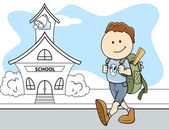 Boy Going to School - Kids - Vector Illustration — Cтоковый вектор
