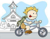 Boy Going From School - Kids - Vector Illustration — Stok Vektör