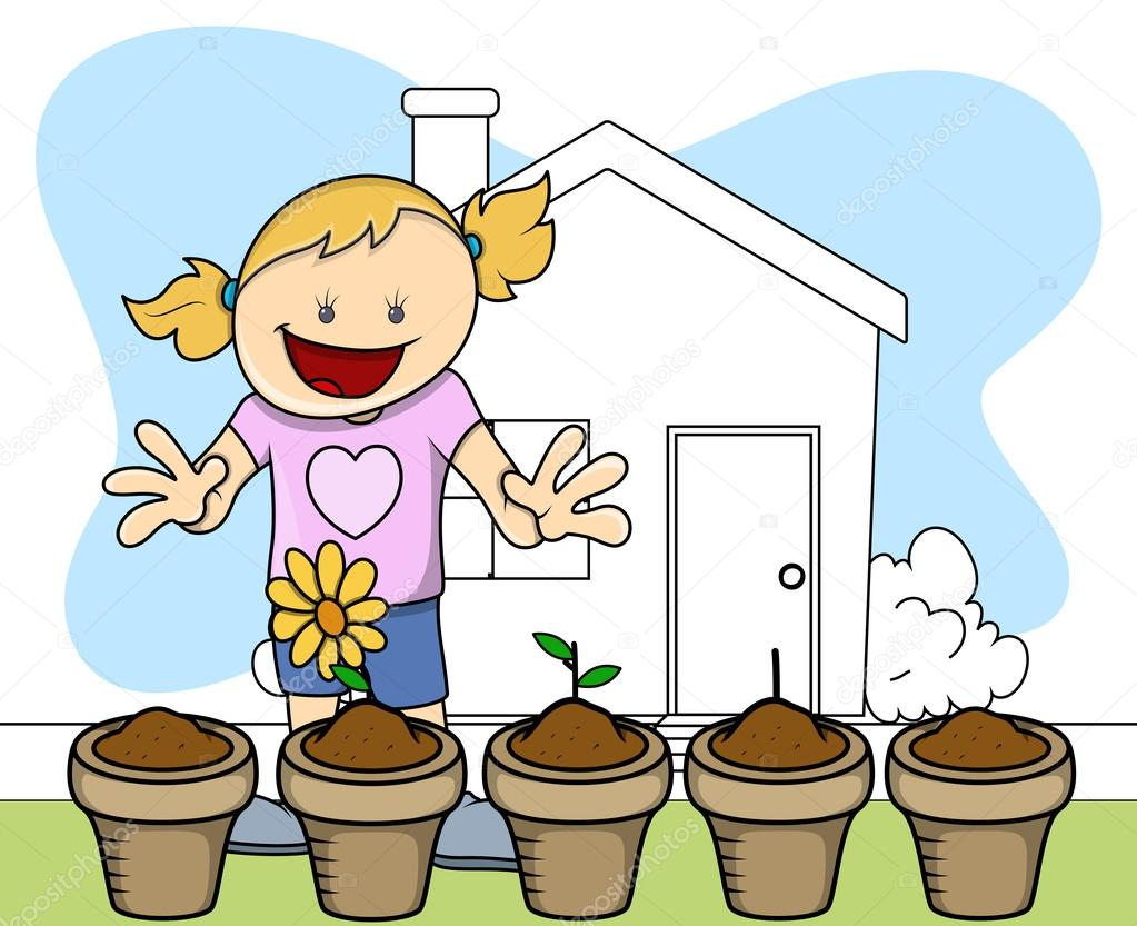 blumen pflanzen garten kinder vektor illustration. Black Bedroom Furniture Sets. Home Design Ideas