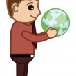 Man Holding Earth in His Hands - Office Character Vectors — Stock Vector #28723837