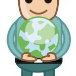 Boy Holding an Earth Sign - Cartoon Office Vector Illustration — Stock Vector #28724331
