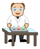Scientist Experimentation - Cartoon Office Vector Illustration — Stock Vector