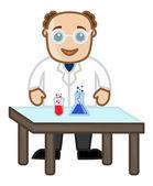 Vědec experiment s chemikáliemi - úřad charakter vektory — Stock vektor