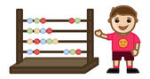 Kid with Abacus - Office Character Vectors — Stock Vector
