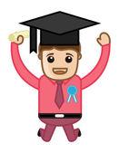 Graduate - Cartoon Vector Illustration — Stock Vector