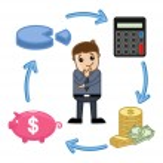 Budget, Saving, Calculate, Invest Circle - Business Cartoon Vectors — Stock Vector #28794781