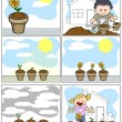 Kids Vector Illustration - Planting and Gardening in Cartoon Style — Stock Vector