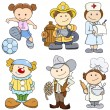 Kids in Various Professions - Vector Illustrations — Stock vektor