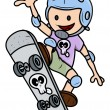 Happy Child Skateboarding - Kid Vector Cartoon Illustration — Stock Vector