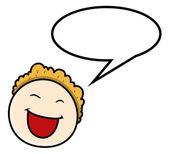 Cartoon Boy - Speech Bubble - Vector Illustrations — Stock Vector
