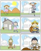 Kids Vector Illustration in Cartoon Style — Stock Vector