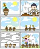 Niños vector illustration - plantar y cultivar un huerto en estilo de dibujos animados — Vector de stock