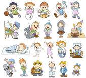 Set of Various Cartoon Kids Illustrations — Stock Vector