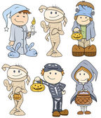 Halloween Cute Kids Vector Illustration — Stock Vector