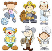 Kids in Various Professions - Vector Illustrations — Stock Vector