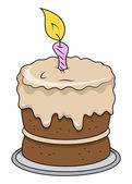 Cute Cartoon Birthday Cake - Vector Illustrations — Stock Vector