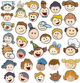 Various Kids Happy Faces - Vector Illustrations — Stock Vector