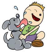 Dog Licking Face of Kid - Vector Illustrations — Stock Vector